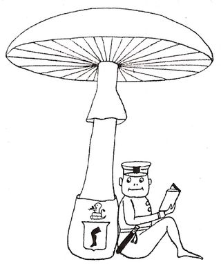 Mushroom bookplate small